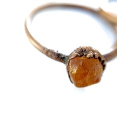 Raw amber ring. Untreated uncut raw baltic amber by HAWKHOUSE