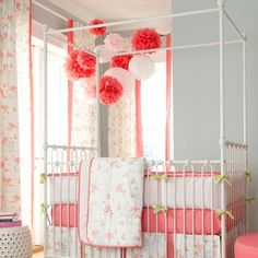 White Pagoda Crib Bedding | Asian-Inspired Toile Crib Colleciton for Baby Girls | Carousel Designs