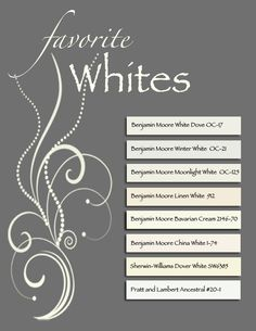 Best sellers ~ BM OC-21 exterior, BM Linen 912 & China White for interior.  Trim- BM White Dove (warm), BM Bavarian Cream (soft lemon appeal); BM Moonlight- warm white that pairs well with neutral.  Sherwin Wms.- Dover White works universally & has gray & yellow undertones.  PL Ancestral- soft, inviting..not too cool or warm, classic for walls & trim.