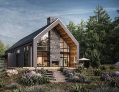 Architecture Discover Single House XI Poland Another Single House CGI for a client based in Poland. Small House Exteriors, Dream House Exterior, Modern Barn House, Modern House Design, Modern Cottage, Future House, Design Exterior, Prefabricated Houses, Villa Design