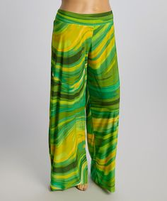 Look at this Green & Yellow Swirl Palazzo Pants - Plus on #zulily today!
