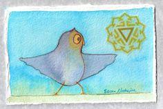 Original Art Whimsical Yoga Chakra Small by ElissaSueWatercolors, $35.00
