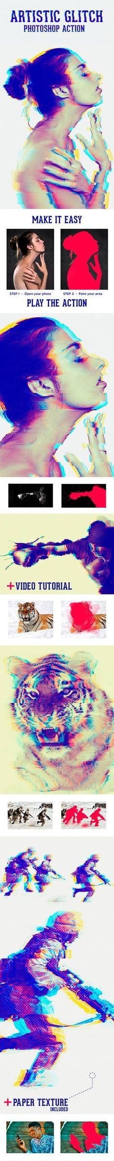 DOWNLOAD:     goo.gl/BrbKtDARTISTIC GLITCH ACTIONThis action turns your photo into amazing and colorful images with glitch distorsion.FeaturesWork with photos and text layerActi...