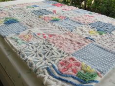 all cotton vintage chenille patchwork baby quilt ❥