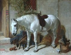 John Frederick Herring--Grey Horse with a Goat, Toy Spaniel and Cat