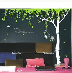 Green Tree with Flying Birds Vinyl Wall by NatureStyle on Etsy, $75.00