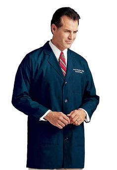 Landau Men's Labcoat Men's tailored style lab coat. Four button closure, belted back stitched over pleats, three front pockets and side hand access. Men's Underwear, Landau Uniforms, Landau Scrubs, Stylish Scrubs, Lab Coats, Men's Coats, Mens Sleepwear, How To Look Classy, Men's Collection