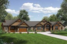 4 bed mountain ranch home plan comes in just under 3,300 square feet. #readywhenyouare House Plan 23609JD