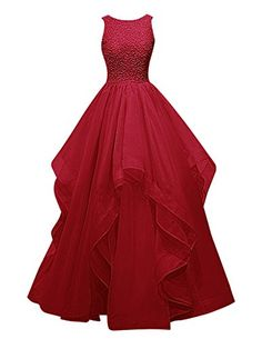 Dresstells® Long Prom Dress Asymmetric Bridesmaid Dress Beaded Organza Gown Dark Red Size 22W Dresstells http://www.amazon.com/dp/B018G58ZXE/ref=cm_sw_r_pi_dp_55X1wb0YNPK79