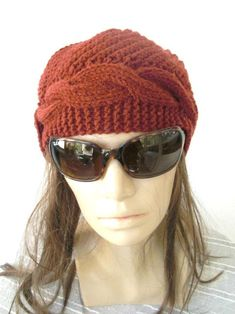 Women Knit Hat Cloche Hat Winter Hat Gift for her от Ebruk Knitted Headband, Knitted Hats, Orange Hats, Rust Orange, Popular Hats, Hats For Women, Women Hat, Cable Knit Hat, Cloche Hat