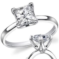 $989 Square Forever One Moissanite Solitaire Ring. 1.3 ct 14k white gold Size 6