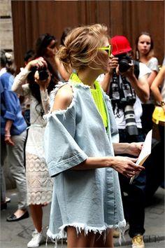 Love this splash of colour, get your statement piece sunglasses at www.sunglassesuk.com Paris Haute Couture - Vogue.it
