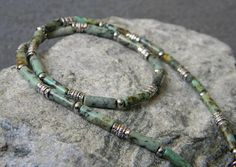 Mens Turquoise Necklace, African Turquoise, Column Necklace, Mens Tribal Necklace, Southwestern, Ethnic Necklace, Unisex, Beaded Necklace