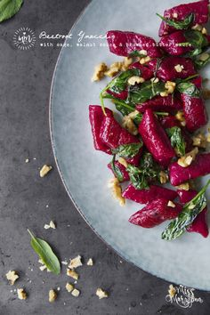 organic beetroot gnocchi (with sage, walnut & browned butter sauce)