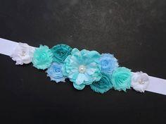 SALE Aqua & White Maternity Sash Maternity Flower Belt