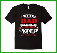 Mens I AM A PROUD DAD OF A FREAKING AWESOME BUILDING ENGINEER T-S 2XL Black - Careers professions shirts (*Amazon Partner-Link)