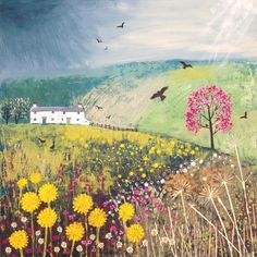 April Showers - Jo Sonja acrylic paint on a 50 x 50cm canvas (SOLD)
