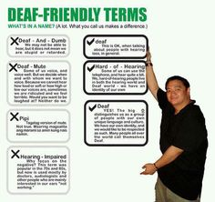 Political correct ways to refer to people who can't hear......Deaf Pride!