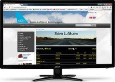 Webdesign for Skien Lufthavn på PC-skjerm. MAlen er selvsagt responsiv tilpasset nettbrett og mobiltelefon. Web Design, Design Web, Website Designs, Site Design