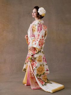 Pink an Yellow Peony Print Ilo Uchikake Japanese Kimono Dress, Kimono Japan, Japanese Costume, Traditional Japanese Kimono, Traditional Fashion, Traditional Dresses, Cute Kimonos, Kimono Design, Wedding Kimono