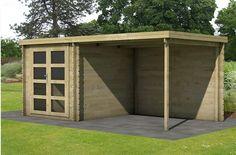 Modern houten tuinhuis met veranda overkapping.