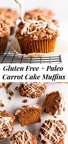 Sweet and moist, with lots of warm spices and an irresistible cinnamon pecan crumb topping, these carrot muffins are sure to become a favorite! They're perfect to serve at brunch or making ahead of time as a grab and go breakfast or snack. Gluten-free, dairy-free, paleo, and family approved! #paleo #glutenfree #carrotcake #paleobaking #glutenfreebaking #cleaneating Paleo Baking, Gluten Free Baking, Baking Recipes, Paleo Bread, Paleo Diet, Paleo Sweets, Paleo Dessert, Healthy Dessert Recipes, Paleo Carrot Cake