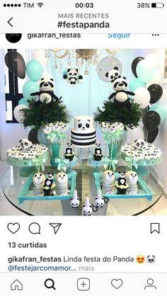 Panda Themed Party, Panda Party, Baby Shower Themes, Baby Boy Shower, Bolo Panda, Panda Baby Showers, Birthday Table Decorations, Baby 1st Birthday, Baby Decor
