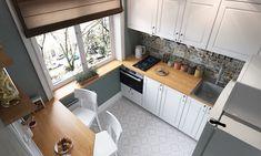 Kis 6 m2-es konyha praktikus berendezése egysoros konyhabútorral és körben futó fa pulttal P4