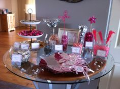 Candy Buffet Table. Pink and Gray Baby Shower