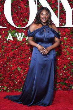 3c768b0ba75 Danielle Brooks Navy Chiffon Off the Shoulder Plus Size Dress Tony Awards  2016 Red Carpet 2016