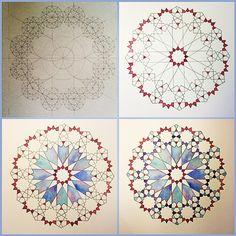 Instagram photo by @jeeamirza via ink361.com Islamic Art Pattern, Arabic Pattern, Mandala Pattern, Mandala Art, Geometric Drawing, Geometric Art, Geometric Pattern Design, Geometric Designs, Pattern Drawing