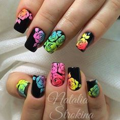 Rainbow roses on a black background for nails.