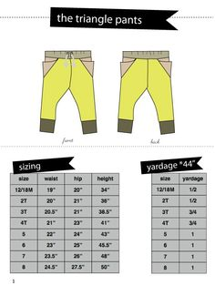 the TRIANGLE pants 18M to 8 PDF pattern   see kate sew