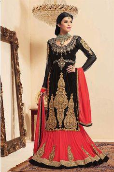 Black Net Resham Embroidered Festive Wear Lehenga Choli
