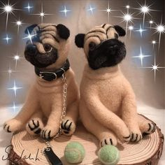 Two Handmade Needle Felted Pugs. One With Collar, Lead And Two Tennis Balls. Height of pugs. Ready to play with their needle felted tennis balls. Needle Felted Peter the Pug and Porky the Pug. Needle Felted Animals, Felt Animals, Needle Felting, Chibi, Felt Fox, Quirky Gifts, Unusual Gifts, Felt Gifts, Grey Dog