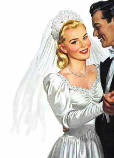 Images Vintage, Vintage Art, Couples Vintage, Estilo Pin Up, Wedding Illustration, Vintage Romance, Up Girl, On Your Wedding Day, Wedding Tips