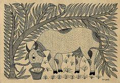 Mithila or Madhubani Paintings from Bihar, India Worli Painting, Kerala Mural Painting, Madhubani Art, Madhubani Painting, Traditional Paintings, Traditional Art, Hand Painted Sarees, Tibetan Art, Indian Folk Art