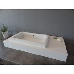 Lavabo Suspendu Rectangulaire, 90x45 cm, Composite Blanc Mat, Lignum