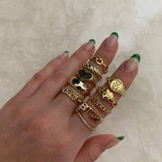 Get your hands on the cutest gold, silver and coloured rings at Evry Jewels✨ Nail Jewelry, Dainty Jewelry, Cute Jewelry, Jewelry Rings, Jewelry Accessories, Cute Rings, Pretty Rings, Piercings, Aesthetic Rings