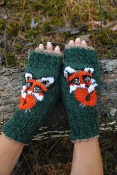 by FoxyChest on Etsy Big Eyes, Fingerless Gloves, Arm Warmers, Fox, Kawaii, Knitting, Nature, Handmade, Etsy