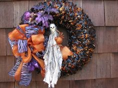 Halloween Wreath with Spooky Skeleton  Ribbon by TheWrightWreath, $65.00 front door wreaths, orang, feather wreath, spooki skeleton, front doors, feathers, ribbon wreaths, halloween wreaths, black