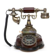 Vintage Retro Bronze Antique Style Push Button Dial Desk Living Telephone Phone