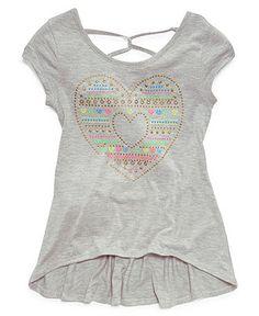 Beautees Kids Shirt, Girls Studded High-Low T-Shirt - Kids Girls 7-16 - Macy's