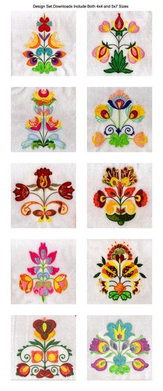 Applique Folkart Flowers Embroidery Machine Design Details