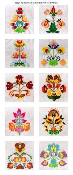Applique Folkart Flowers Embroidery Machine Design Details