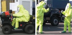 As part of a three-day demonstration exercise, California National Guard civil support personnel in full chemical protective gear demonstrate rapid-response operations. Personnel trained in chemical response procedures and technologies (left) drive by a portable personal decontamination facility and (right) sample air for chemical warfare agents.