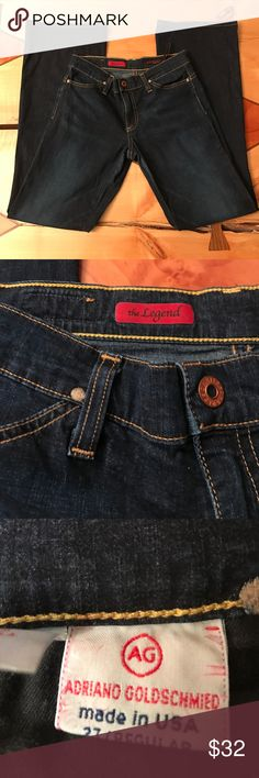 """AG Adriano Goldschmied """"The Legend"""" Jeans AG Jeans in a dark wash. Boot cut. Five pocket styling. Inseam approx 30"""", rise approx 8"""". Excellent used condition 95% cotton,5% spandex AG Adriano Goldschmied Jeans Boot Cut"""