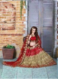 Viscose Cream and Maroon Embroidered Bridal Lehenga choli