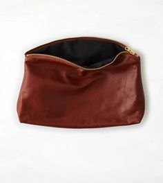 Brown Baggu Leather Clutch