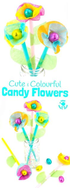 Kids will love this Candy and Tissue Paper Flower Craft. Simple homemade flowers with a centre of delicious candy! Such a fun Easter craft or Spring and Summer craft for kids and they make great homemade gifts or table centre pieces for parties and celebr